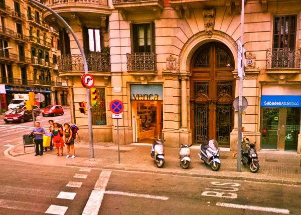 Front door of Alternative Creative Youth Hostel in Barcelona Spain city center
